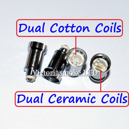 New Arrival Dual Coil For Wax Glass Globe Atomizer Clearomizer Double Ceramic Rod Coil Titanium Wick Glass Globe Replacement Coil Head eCigs