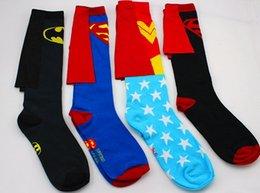 Wholesale Batman SupermanDC Wonder Women Stars Fashion Baby Cloak Socks New Children Long Stockings Kids Warmth Football Socks pairs L1459