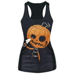 Wholesale Vestidos de fiesta largos new arrival halloween tops amp tees pumpkin d print t shirt top summer style women clothing