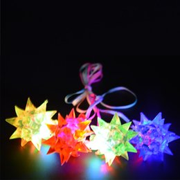 Spiky Jelly Star Light Up LED Flashing Necklace Pendants Best Gift Children'Day High Quality Festive Supplies