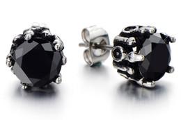 8MM Black Cubic Zirconia Mens Stud Earrings Mens Black Earrings Black Mens Earrings Black Earring Stud CZ Studs 2pcs