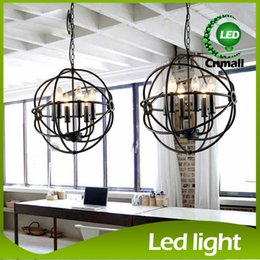 Wholesale RH Lighting Restoration Hardware Vintage Pendant Lamp Foucault s Iron Orb Chandelier Rustic Iron RH Loft light Globe Style cm cm cm