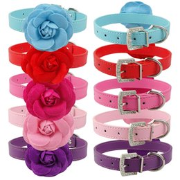 PU Leather Pet Dog Cat Collar Cute Flower Studded For Small Medium Dogs Cats