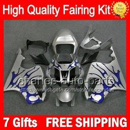 7gifts+Bodywork For HONDA VTR1000 00-07 Blue flames VTR 1000 RTV1000 46CL20 VTR1000R 00 01 02 03 04 05 06 07 Silver RC51 SP1 SP2 Fairing Kit