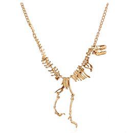 Wholesale-2015 Fashion Jewelry Gothic Tyrannosaurus Rex Skeleton Dinosaur Pendant Necklace Gold Silver Chain Choker Necklace For Women