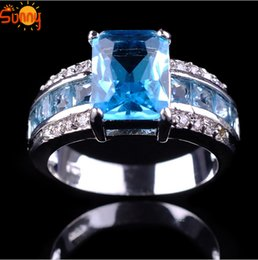 Wholesale 1PC Sz7 fashion Jewellery Aquamarine men s ladys KT white Gold Filled Ring for women