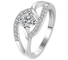 925 Sterling Silver Plating Rings Women Ladies Luxury Wedding Austrian Crystal Rings Party Dress Zircon jewelry