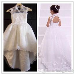 2015 Pageant Dresses A-line Halter Lace Appliques Chapel Train Flower Girl Dresses Formal Dresses For Girls Pageant Dress