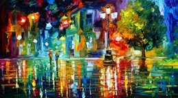 Wholesale Hot Sell Modern Wall Painting Home Decorative Art Picture Paint Canvas Prints Color painting The trees Street lamp Lovers rain