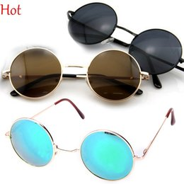 Wholesale Metal Round Sunglasses Top Hot Glasses Eyewear Gold Green Flash Ray Sun Glass Lenses Funny Eyewear Coating Mens Womens Sunglasses Punk