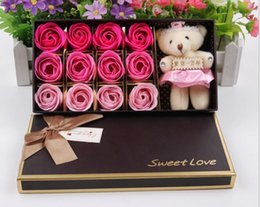 Wholesale 12 beautiful artificial flowers soap roses with bears Romantic Valentine s Day gift Wreath Send love to you