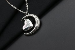 2016 Romantic I Love You To The Moon and heart Necklace Alloy Chain Heart Pendants Necklaces For Women Jewelry Valentine's Day Gift