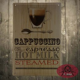Wholesale Coffee Cappuccino espresso Hot Milk Steamed Ads Tin Poster Cafe wall plaque Decor