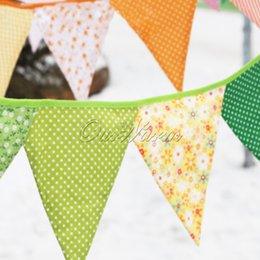 Multicolore à la main 2.4m 12flags Bunting double côté tissu Drapeau Banner Garland Décoration de mariage Décoration à partir de tissu étamine bannière fabricateur