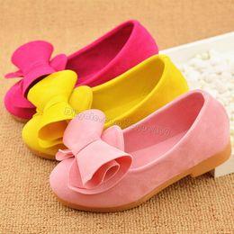 Wholesale Hot Sale Children flannelette Bowknot Single Shoes Girls Beef Tendon Bottom Flats Kids Baby Casual Princess Shoe Zapato Size