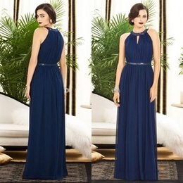 Wholesale Grace Pattern Wedding Party Dress Pretty Crew Amazing Design Floor Length Sequin Beaded Sheath Navy Blue Chiffon Cheap Bridesmaid dresses