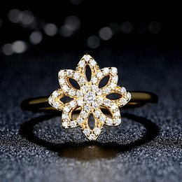 925 Sterling Silver Lace Botanique Floral Rings in 14K Gold with Clear CZ Elegant Pandora Style Promise Wedding Rings for Women R045