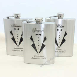 Wholesale Personalized gift stainless steel hip flask oz for Groomsman and Best man