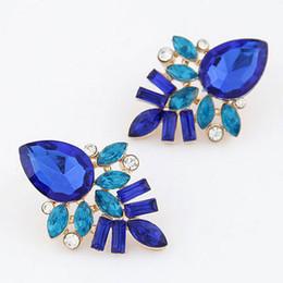 2016 Women Fashion Jewelry Style Blue Earrings Rhinestone Sweet Stud Handmade Crystal Earring For Women Wholesale 12 Pairs