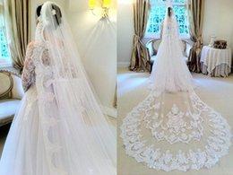 Wholesale The bride beautiful veil in summerA layer of white teeth gauze church wedding bridal veil length applique lace