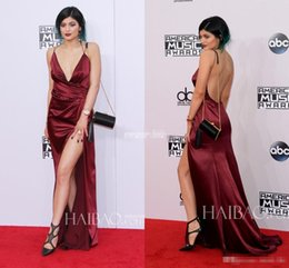 Wholesale Sexy Kylie Jenner American Music Awards Red Carpet Celebrity Dresses Backless Deep V Neck Split Burgundy Evening Party Gowns Prom Dress