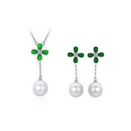 High Grade Flower Necklace Earrings Sets Leaf Clover Jewelry Sets 18kgp Alloy Pearl Jewelry Sets Fine Jewelry GD5013