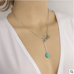 Wholesale-2016 New Turquoise Teardrop Silver Branch Lariat , Turquoise Branch Lariat Necklace Teardrop Lariat Necklace