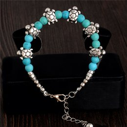Wholesale-Free Shipping Wholesale Retro Cute Tortoise Charming Turquoise Stone Bracelet