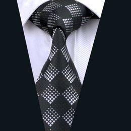 Classic Black Plaid Silk Tie Necktie for Men 8.5cm Width Jacquard Woven Work Meeting Formal Tie D-0258