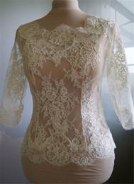 Wholesale Lace Beige Dresses Sale - Hot Sale Cheap Bridal Wraps Modest Alencon Lace Crystals Wedding Bridal Bolero For Wedding Dresses Long Sleeve Sheer Lace Applique Jacket