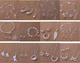 Free Shipping with tracking number New Fashion women's charming jewelry 925 silver 12 mix jewelry set 1458