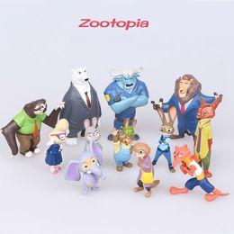 Movie Zootopia Cartoon Utopia Action Figure Pvc Mini Models Nick Fox Judy Rabbit 12pcs set 5-8cm Cartoon Utopia Figure Movies Accessories