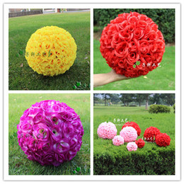 """Whosale Party Supplies 25CM 10"""" Artificial Encryption Rose Silk Flower Kissing Balls Hanging Ball Christmas Ornaments Wedding Decorations"""
