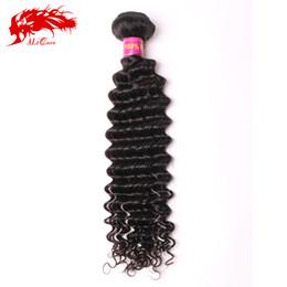 Ali Queen Malaysian deep wave curly virgin hair 1P lot natural black hair 6A unprocessed cheap human hair weave curly