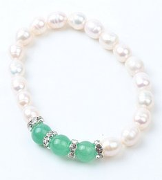 Wholesale MIC New Style Fresh Water Pearl Colors Crystal Beaded Stretchy Bracelets