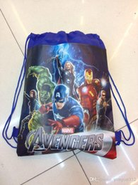 2016 new children backpacks the avengers alliance boy non-woven drawstring bags boy school bags chidren backpack QH6010-2