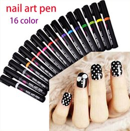 Wholesale 16 Colors Nail Art Pen for D Nail Art DIY Decoration Nail Polish Pen Set D Design Nail Beauty Tools Paint Pens