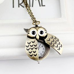 Wholesale Unique Antique Fashion Alloy Vivid Owl Pocket Watches Pendent Necklace For T Shirt Sweater Modern Jewelry Accessories