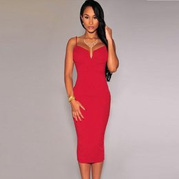 Hot Sexy long Dresses Sheath Women Dress Spaghetti Strap V-Neck Summer Mid-Calf Dresses for Party Calf