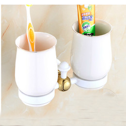 Wholesale And Retail White Painting Luxury Tooth Brushed Holder Dual Cups Wall Mounted Ceramic Style Wall Mounted