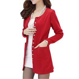 Long Sweaters Women 2016 New Autumn Cardigan Slim Single Breasted Full sleeve Wool blend Knit Cardigan Sweater Plus size M-2XL