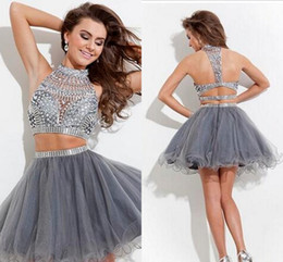 Sliver Crystals 2017 Two Pieces Cocktail Prom Dresses Rachel Allan High Neck Beaded Hollow Grey Tulle A-line Short Homecoming Dress