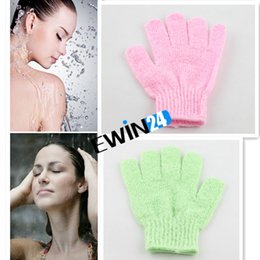 Wholesale 2015 good quality Exfoliating Glove Skin Body Bath Shower Loofah Sponge Mitt Scrub Massage Spa