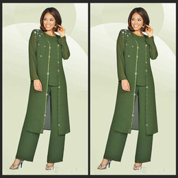 Wholesale 3 Pieces Chiffon Mother Of The Bride Pant Suits Jewel Long Sleeves Army Green Plus Size Mother Dress Evening Party Gowns Cheap