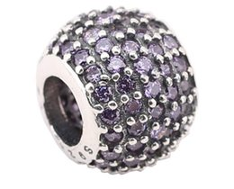 100% Sterling Silver Charms 925 Ale Rhinestone Ball Charms for Pandora Bracelets Basic DIY Beads Accessories