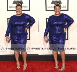Wholesale Sheath Plus Size th Grammy Anita Wilson Red Carpet Celebrity Dresses Sequined Jewel Neck Knee Length Custom Made Formal Pageant Gowns