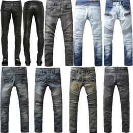 Wholesale BALMAIN Jeans Men Zipper Style Race Motorcycle Jeans For Men Hip Hop Jeans Balmain Biker Jeans Robin Denim Pants Real Religious Jeans