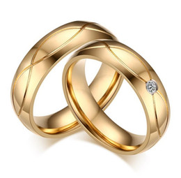 Free Engraving 5mm Stainless Steel Gold Wedding Band His and Her Couple Rings Engagement Promise Rings