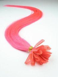 "5A - wholesale -1g s 100g pack 16''- 24"" Keratin Stick u Tip Human Hair Extensions Peruvian hair #pink hair dhl Fast shipping"