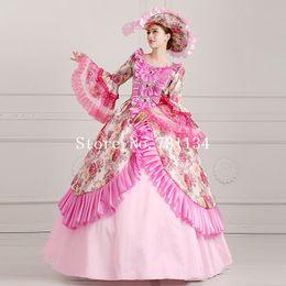 Elegant Pink Floral Lolita Princess Dress Southern Belle Costume Renaissance Rococo Marie Antoinette Dresses
